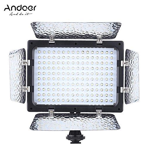 Andoer W160luz video fotografía panel lámpara 6000K 160LED para Canon Nikon Pentax Sony (Alpha) Olympus Fujifilm DSLR DV