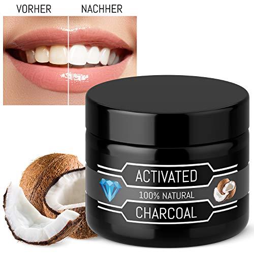 Kokosnuss Aktivkohle Pulver - Für Weiße Zähne In Wenigen Tagen - 100% Rein - Ohne Zusätze - Natürliche Zahnaufhellung - Vegan - Zahnpasta - Activated Charcoal Powder - Bleaching Teeth Whitening -