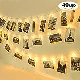 Homelegace 40 LED Photo Clip Chaîne Lights Blanc Chaud Batterie pour Accrocher Photos, 5,2M et deux modes d'éclairage pour Fête Noël Mariage Anniversaire Soirée Party Décor Chambre Maison...