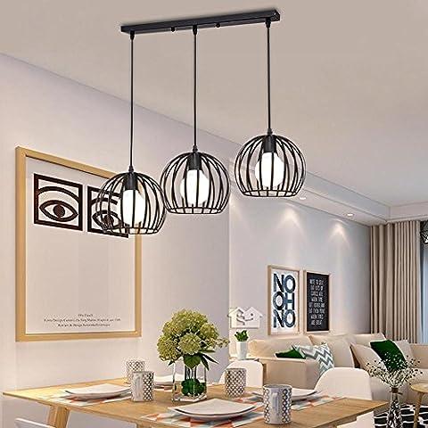 Rétro Minimalisme Lange 3-tête Pendentif Noir Le fer Rond Abat-jour pour Île de cuisine Salle à manger Grenier Bar Café, 3 * E27, L50CM