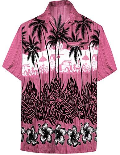 LA LEELA Hawaiian Tasto Solido della Camicia Uomini Gi/ù