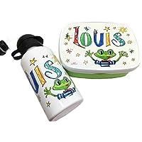Brotdose mit Trinkflasche mit Namen im Set, Frosch, personalisiertes Kindergarten-Frühstücksset, Rosirosinchen, Rosti Mepal