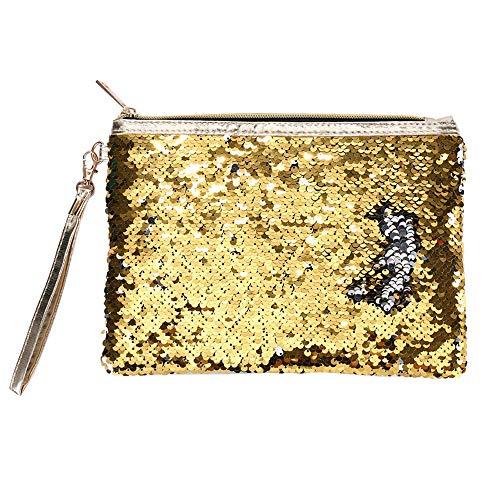 Glitzer Mädchen Handtasche Geldbörse Geldbeutel, Kleine Pailletten Kosmetiktaschen Bunt Vintage Wallet Portmonees Meerjungfrau Reversible Glitzer Abendtasche Card Inhaber Münze Handtasche Damen