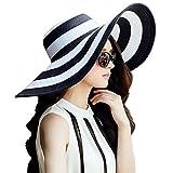 DRESHOW Donne Beachwear Cappello per il sole a strisce cappello di paglia cappello floscio grande bordo