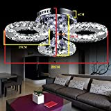 LOCO LED Crystal Flush Mount, 3 Lights, Electroplating ,Modern Ceiling Light Fixture For, Hallway, Bedroom, Living Room