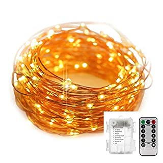 String Lights 39 Feet 120 LED Decorative Lights Dimmable Waterproof Battery Operated with Remote Control for Indoor Outdoor Wedding Birthday Party Bedroom Patio Garden Gate Yard (Warm White)