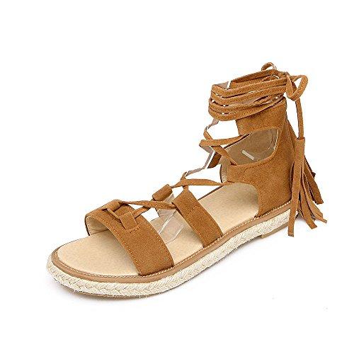 YFF Donna informale tacco piatto infiorescenza staminifera decorazione Lace Up sandali Beach Roma scarpe 9