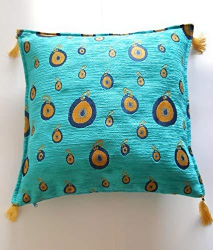 haha-designs - Funda de cojín con diseño de Ojo Turco Nazar con Borla de Chenilla, Color Turquesa, Azul y Dorado