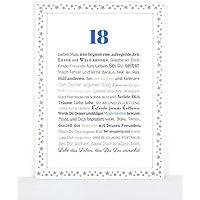 18. Geburtstag - Geschenkidee zur Volljährigkeit - Personalisiertes Bild mit Rahmen als Geschenk für den jungen Erwachsenen - Geburtstagsgeschenk für einen Jungen / Mann oder Beigabe zum Geldgeschenk