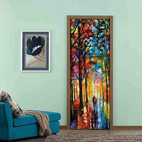 LLHBDA 70x200cm pittura a olio porta murale 3d porta decalcomanie per bagno soggiorno pvc adesivo carta da parati per porta decorazioni per la casa decalcomanie z,95x215cm