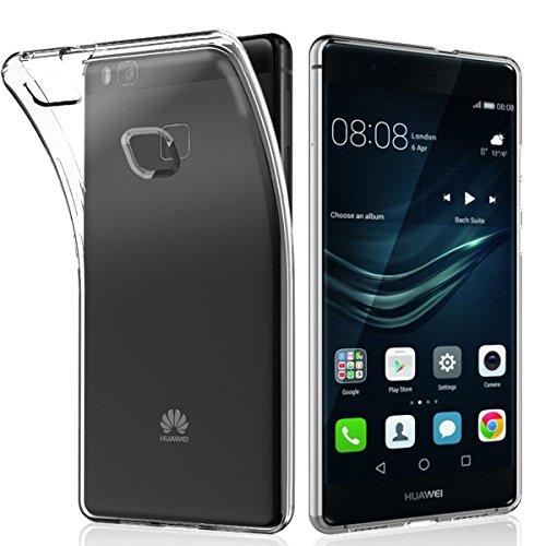 NEW'C Hülle für Huawei P9 lite [Ultra transparent Silikon Gel TPU Soft] Cover Case Schutzhülle Kratzfeste mit Schock Absorption & Anti Scratch kompatibel Huawei P9 lite