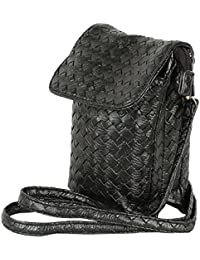 Tamirha Textured Pattern Black Mobile Pouch Sling Bag