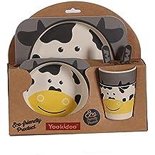 Xing Lin Cubertería Para Niños Traje De Vajilla Infantil Baby Baby Tenedor Spoon Plato Taza Tazón,Vaca Dinero (5 Piezas De Vajilla)