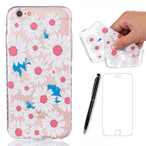 Preisvergleich Produktbild Lotuslnn Hülle Apple iPhone 6s/6 silikon (4.7 Pouce) avec Une fleur conception - iPhone 6 /6s Schutzhülle Etui en rose blanc Transparent