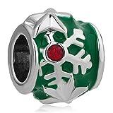 Pugster - Orecchini con cristalli portafortuna a forma di fiocco di neve, compatibile con braccialetti Pandora, colore rosso