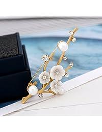TT Cáscara femenina retro broche de flores hechos a mano exquisitos accesorios versátiles,Oro,2.8cm * 7.3cm