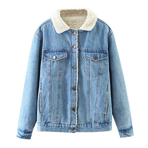 iBaste Gefüttert Jeansjacke Damen mit Fellkragen Denim Jacket für damen Mantel Winter Übergangsjacke Outwear-M