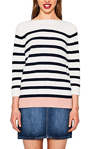 ESPRIT Damen 077EE1I006 Pullover, Mehrfarbig (Off White 110), Large