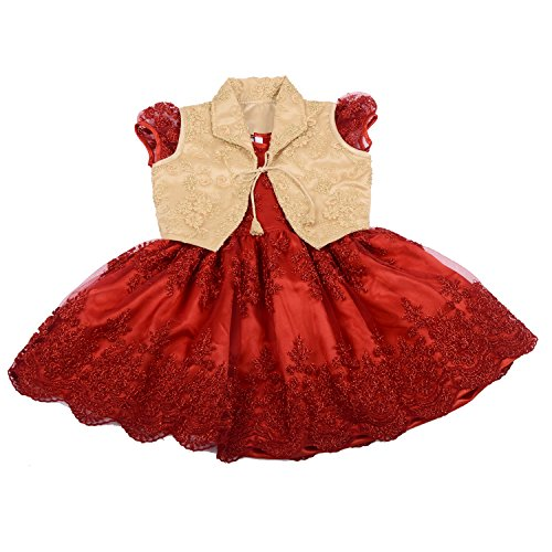 UNNATI RED OVERCOAT FROCK FOR GIRLS