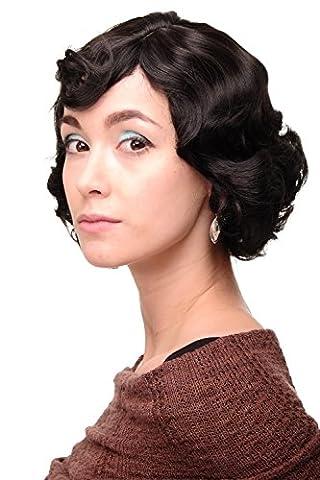 WIG ME UP ® A4002-3 Lady Quality Wig Short Bob 20s 30s Twenties Movie Star Diva Charleston Swing Style Wave Dark Brown