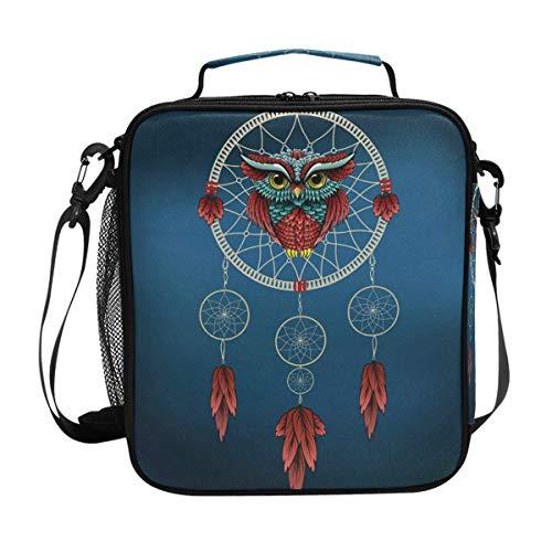 CPYang - Bolsa térmica para el almuerzo con correa para el hombro, diseño de búho, atrapasueños, bolsa térmica con correa para el hombro