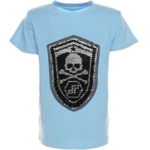 (BEZIT Kinder Jungen T-Shirt Wende-Pailletten Sommer Shirt Sleeve Sweat 21352, Farbe:Blau;Größe:116)