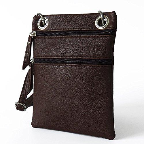 Mefly La Sig.Ra Croce Obliqua Bag Pu Piccola Croce Obliqua Borsa Multicolore Zero Portamonete Bianco Luce brown