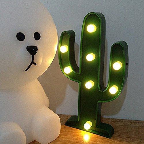 YiaMia Cactus / Árbol de Navidad / Pingüino Luz LED Romántica Noche Lámpara de mesa Inicio Navidad Parte Décor (Cactus)