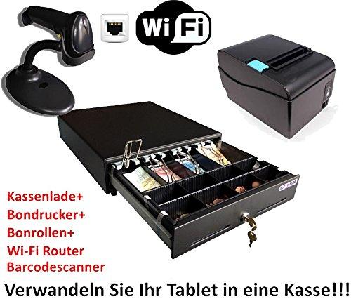 Kassen-Set: MINI Geldlade 330x330x100mm, Barcodescanner, Bondrucker, WLAN Router