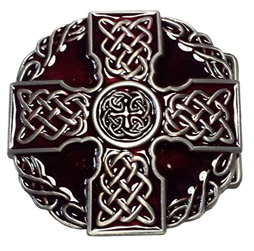 Cross Celtic Buckle, Celtic Cross, Red, Buckle