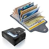 Aodoor Kreditkartenetui Büffelleder für 26 Scheckkarten, Schön klein und handlich Kartentui Kreditkartenetui Visitenkartenetui
