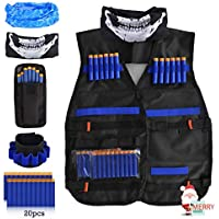 LOYO Kids Tactical Vest, Adjustable Tactical Vest Jacket Kit for Nerf Toy Gun N-Strike Elite Series with 20Pcs Soft Foam Darts Bullets, 2Pcs Seamless Face Masks & 1Pcs 8-Dart Wrist Band
