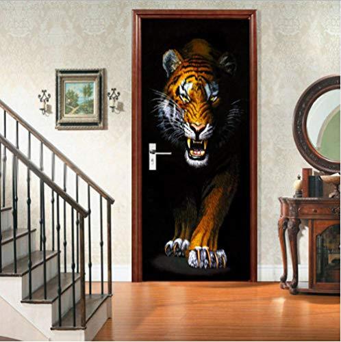 3D Türaufkleber Tiger Aufkleber Wandbild Kunst Tapete Poster Tür Aufkleber Pvc Selbstklebende Removable Home Tür Aufkleber Moderne Kunst Tapete 77X200Cm Tiger Aufkleber