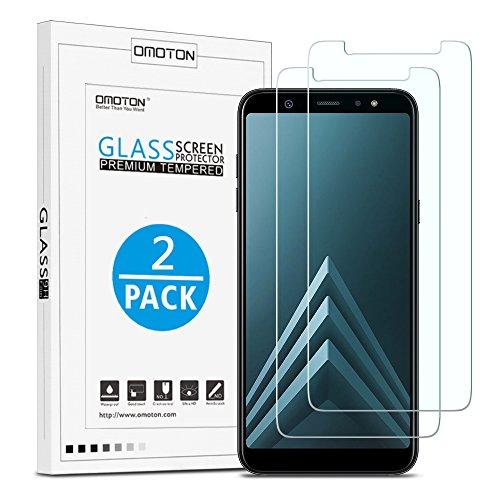 OMOTON [2 Stück] Panzerglas Schutzfolie für Samsung Galaxy A6 Plus 2018(6 Zoll), Hüllefre&lich, Anti-öl, Anti- Kratzer, Bläschenfrei,9H Härte, HD-Klar