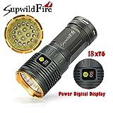 Musheng© Lampe torche Supwildfire 50000lm 3-modes 18x XM-L T6LED Affichage numérique Étanche Pour Extérieur Chasse Camping Randonnée, doré