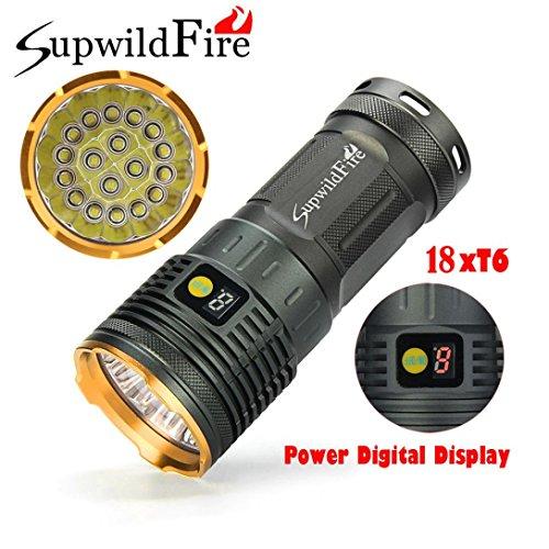 Musheng Lampe torche Supwildfire 50000lm 3-modes 18x XM-L T6LED Affichage numérique Étanche Pour Extérieur Chasse Camping Randonnée, doré