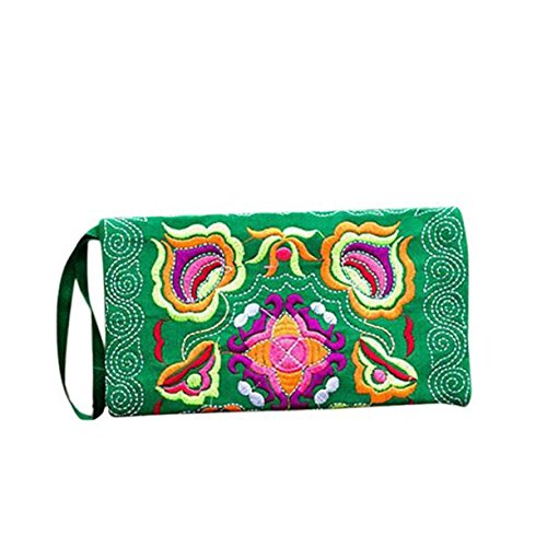 Bluester Women Ethnic Handmade Embroidered Wristlet Clutch Bag Vintage Purse Wallet Handbag (Green)