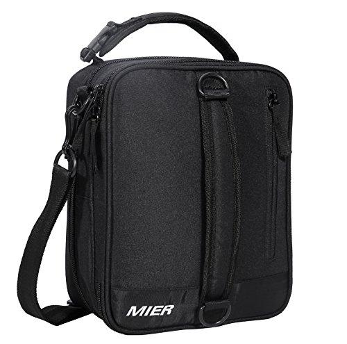 Mier borsa da pranzo espandibile borsa pranzo refrigerante isolata per uomo donna bambini, nero