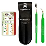 TickCheck Tick Remover Kit (Stainless Steel Tick Remover with Tweezers, Leather Case and Pocket Tick Identification Card)