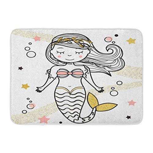 artyly Rutschfeste Fußmatten für drinnen und draußen, Badematte, Frisur, niedliche Meerjungfrau-Charaktere in Fee Undine Prinzessin Paperdoll, Malbuch für Kinder, langlebig, 60 x 40 cm