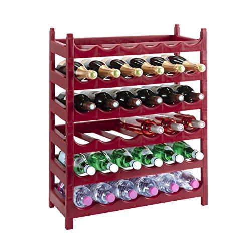Wedestock Etagère à Bouteille, casier à Bouteille modulable Plastique 36 Bouteilles Coloris Rouge Bordeau
