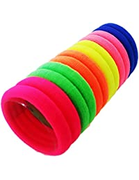 Fok Multi Bright Colored Elastic Cotton Stretch Hair Ties Bands For Women/Girls - Set Of 50 Pcs