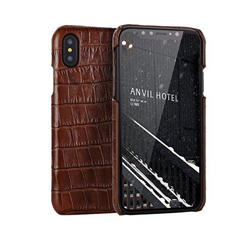 iPhone X Caso, Moda Struttura del Coccodrillo+Vera Pelle+Coperture ultra sottili del PC Adatto per iPhone X (5.8-Pollici Rosso) Marrone