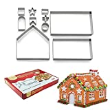QISF 10Pcs 3D Gingerbread House Stainless Steel Christmas Scenario Cookie Cutters Set Biscuit