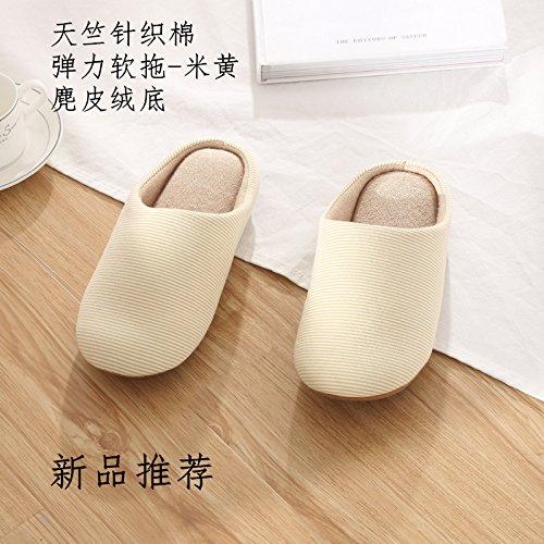 LaxBa Femmes Hommes Chaussures Slipper antiglisse intérieur M Jaune