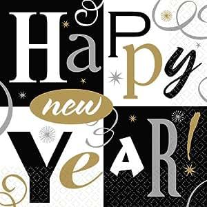 16 Stück SERVIETTEN - HAPPY NEW YEAR - 32,7 x 32,7 cm