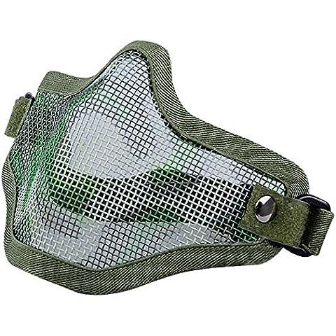 Mascara - TOOGOO(R)La caza tactico de alambre de metal mitad CAT mascarilla de Airsoft del acoplamiento de la mascara de Paintball Resistente Verde Oscuro