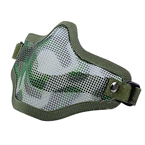 TOOGOO(R) Chasse Tactique Metal fil Demi-Visage CS Masque Maille Airsoft Masque Paintball Resistant Vert fonce