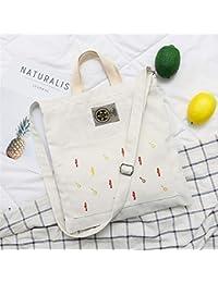 Preisvergleich für Achun Lektion Tragetaschen Große Kapazitäts-Damen-Segeltuch-Fisch-Haken-und Kleine Fisch-Stickerei-Handtaschen-Schulter-Einkaufstasche-Weiß