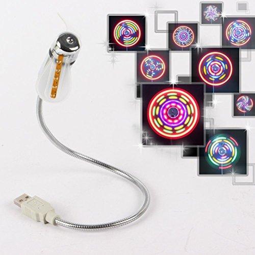 PIXNOR LED Ventilador USB con multicolor LED Luz para PC Portátil Laptop...